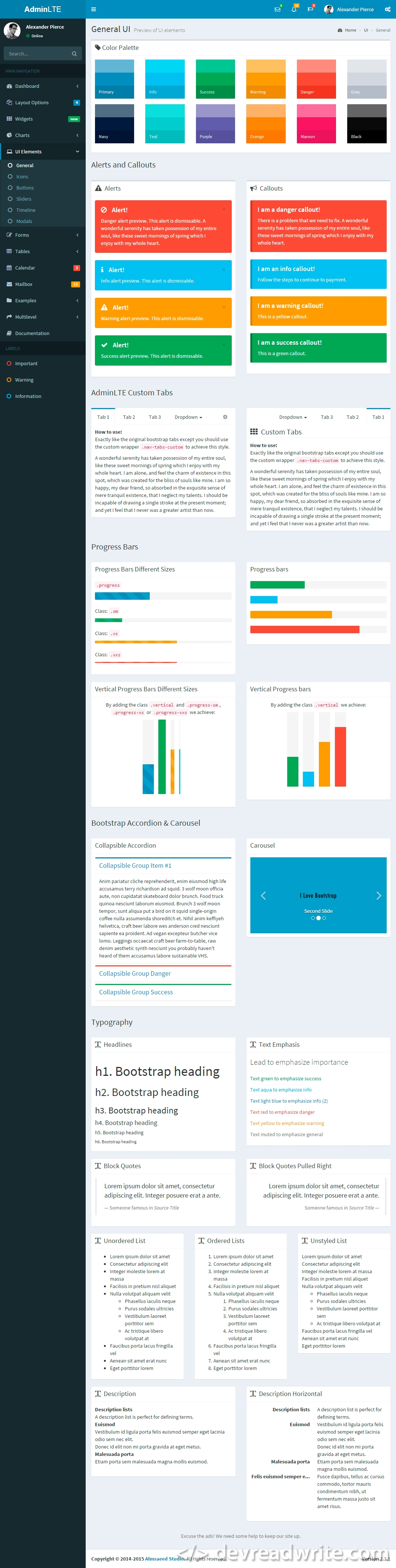 AdminLTE, screenshot of UI elements page
