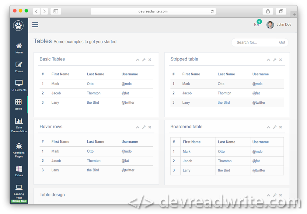 Gentellela Admin. Responsive HTML template for CMS based on Bootstrap. Example of tables