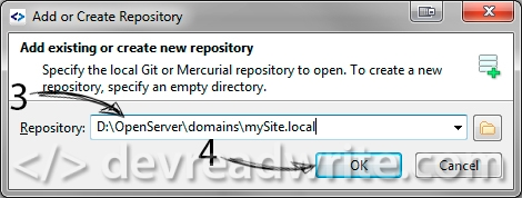 SmartGit, add existing or create new repository